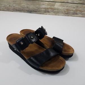 Naot Ashley Black Leather Wedge Sandals Slip On
